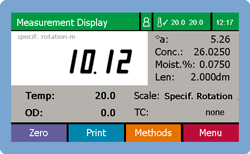 Measurement Display Specific Rotation with moisture% METHOD button